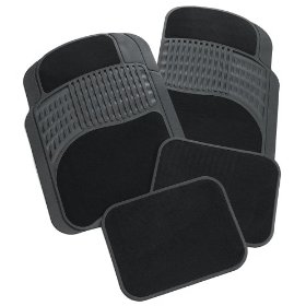 Show details of Rubber Queen 70511 Rubber Bordered Carpeted 4 Piece Floor Mats - Black.