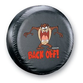 "Show details of Taz ""Back Off!"" Spare Tire Cover."