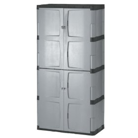 Show details of Rubbermaid 7083 72-Inch Four-Shelf Double-Door Resin Storage Cabinet.