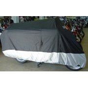 "Show details of Deluxe Heavy Duty Motorcycle Cover XXL Perfect for Harley Motorcycle, Come with 45"" Cable and Lock. Black."