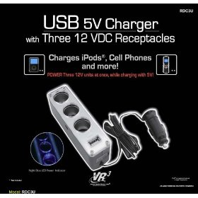 Show details of NEW VR3 USB CAR CHARGER POWER PORT 3 OUTLETS FITS IPOD.