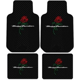 Show details of Harley Davidson Script Logo w/ Rose Flower 4 Pc Floor Mats Set.
