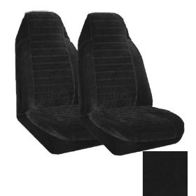 Show details of Set of 2 Universal Fit High Back Encore Pattern Front Bucket Seat Cover - Black.