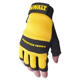 Show details of Dewalt DPG23L Fingerless Synthetic Leather Palm Work Glove with Spandex Back Velcro Wrist, Large.