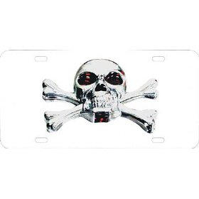 Show details of Pilot LP184 License Plate 3D with Chrome Skull.