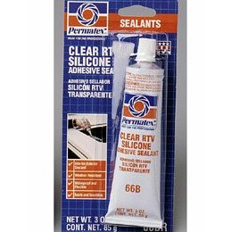 Show details of Permatex 80050 #66 Clear Silicone Adhesive Sealant, 3 oz. Tube.