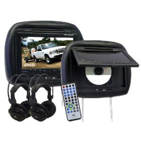 "Show details of 2 (Pair) Black 9"" LCD Car Headrest Video Monitors with Built-in DVD Players."