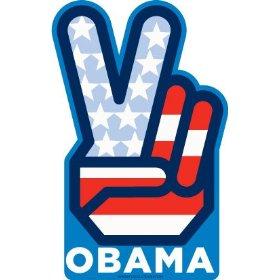 Show details of Barack Obama Peace V Sign Car Magnet.