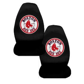 Show details of A Set of 2 MLB Major League Baseball Licensed Universal-Fit Front Bucket Seat Cover - Boston Red Sox.