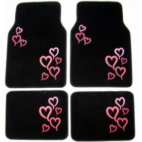 Show details of Pink Hearts Front & Rear Carpet Car Truck SUV Floor Mats.
