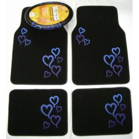 Show details of Blue Hearts Combo - Front & Rear Carpet Floor Mats & Steering Wheel Cover.