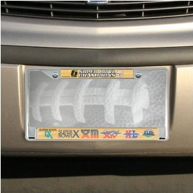 Show details of Pittsburgh Steelers Super Bowl XLIII Champions 6-Time Champions Chrome License Plate Frame.
