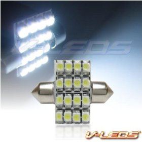 Show details of HID WHITE M-SMT 16 LED DOME LIGHT BULB 3022 3021 DE3175.