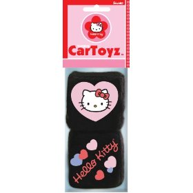 Show details of Hello Kitty Fuzzy Dice Car Toys.