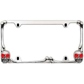 Show details of Pilot WL218-CR Chrome Skull License Plate Frame with Red LED.