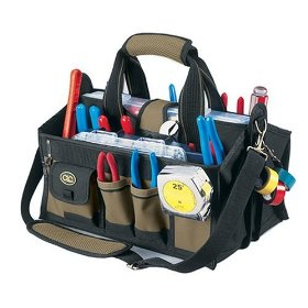 Show details of Custom LeatherCraft 1529 15-Pocket, 16-Inch Center Tray Tool Bag.