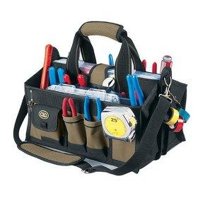 Show details of Custom LeatherCraft 1529 15-Pocket, 16-Inch Center Tray Tool Bag.