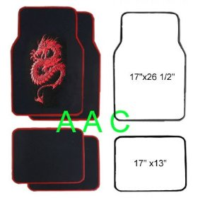 Show details of A Set of 4 Universal Fit Plush Carpet Floor Mats for Cars / Truck - Dragon Red.