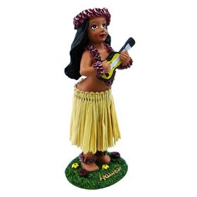 Show details of Mini Hula Girl with Ukulele Dashboard Doll (appeared on Verizon commercial).
