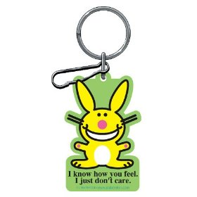 "Show details of Happy Bunny ""I Know How You Feel I Just Don't Care"" Plastisol Key Chain."