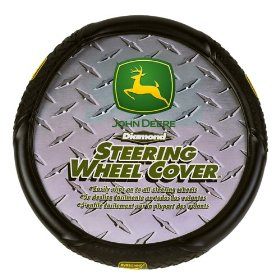 Show details of Diamond Plate Grip Style John Deere Steering Wheel Cover.
