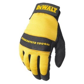Show details of Dewalt DPG20L All Purpose Synthetic Leather Palm Spandex Back Velcro Wrist Work Glove, Large.