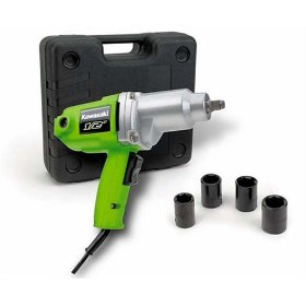 Show details of Kawasaki 840017 Green 1/2-Inch 7.0 Amp Impact Wrench Kit.