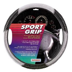 Show details of Superior 58-1100Y Slip-On Massage -Velour Gray Steering Wheel Cover.