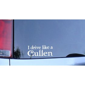 Show details of I Drive Like a Cullen Vinyl Sticker - White, Twilight Fan Window Decal.