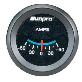 Show details of Sunpro CP7981CustomLine Electrical Ammeter - Black Dial.