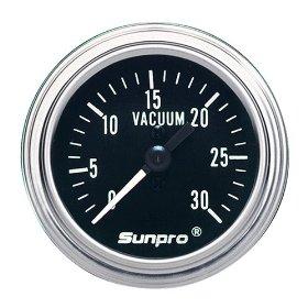Show details of Sunpro CP7978 Mechanical Vacuum Gauge - Black Dial.