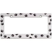 Show details of Animal Paw Print License Plate Frame (Chrome Metal).