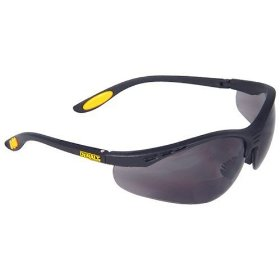 Show details of Dewalt DPG59-215C Reinforcer Rx-Bifocal 1.5 Smoke Lens High Performance Protective Safety Glasses with Rubber Temples and Protective Eyeglass Sleeve.