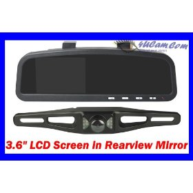 "Show details of 4UCam REARVIEW MIRROR 3.6"" TFT Color monitor + Wireless Backup Camera w/ Night Vision."