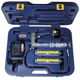 Show details of Lincoln Lubrication 1242 12 Volt DC Cordless Rechargeable Grease Gun with Case and Charger.