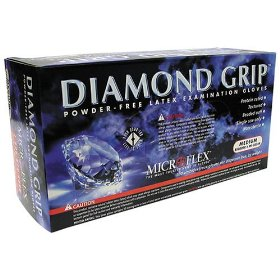 Show details of Microflex MF300L Powder Free Diamond Grip Latex Gloves Size Large, 100 Box.