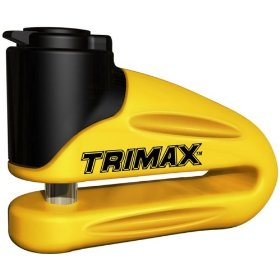 Show details of Trimax T665LY Hardened Metal Disc Lock - Yellow 10mm Pin (Long Throat) with Pouch & Reminder Cable.