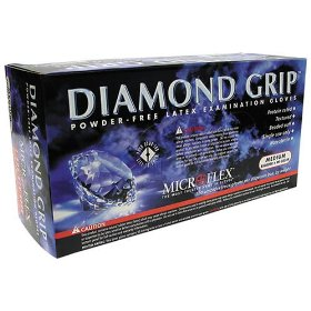 Show details of Microflex MF300M Powder Free Diamond Grip Latex Gloves Size Medium, 100 Box.