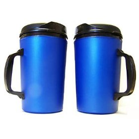 Show details of 2 Aladdin Style Foam Insulated Coffee Mugs 34 oz Blue.