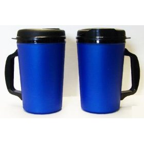 Show details of 2 Aladdin Foam Insulated Coffee Mug 20 oz w/Lids Blue.