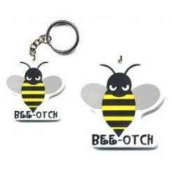 Show details of Transformers Bumblebee Beeotch Air Freshener AND Bee-otch Keychain Set.