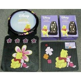 Show details of Winnie the Pooh & Piglet Paradise 7pc Combo Set Front & Rear Floor Mats, Seat Covers & Steering Wheel Cover Plus Bonus License Plate Frame.