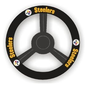Show details of Pittsburgh Steelers Leather Steering Wheel Cover.
