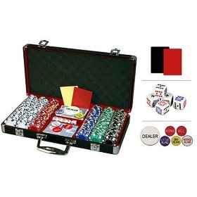Show details of Premium 300 Diamond Suited Poker Chip Set w/black aluminum case, 6 dealer buttons, 2 Cut Cards, 5 dice and 2 playing card decks.