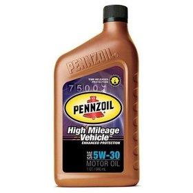 Show details of Pennzoil 5W30 High Mileage Motor Oil, Case of Six 1 Quart Bottles.