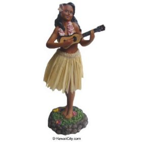 Show details of Lelani Dashboard Hula Doll - Playing Ukulele / Natural.