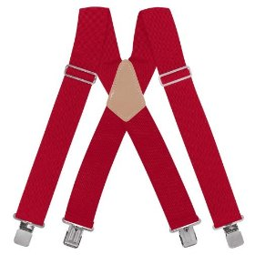 "Show details of Rooster #110C 2"" RED Heavy Duty Suspenders."