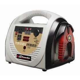 Show details of Schumacher PP-18400CI Portable Power with Air Compressor, Inverter, and Work Light.