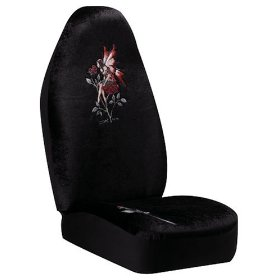 "Show details of Auto Expressions ""Amy Brown Rose"" Black Universal-Fit Front Seat Cover."