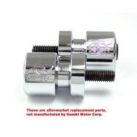 Show details of SUZUKI GSXR 600 750 1000 CHROME SWINGARM SPOOLS SLIDERS.